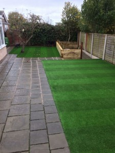 New striped lawn effect artificial grass 50cm wide colour bands, 40 MM pile. 4 metre wide.